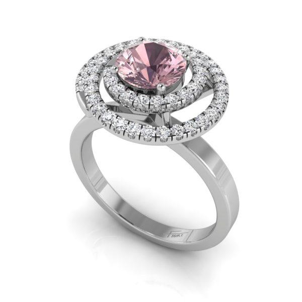 Champagne pink lab grown diamond halo ring